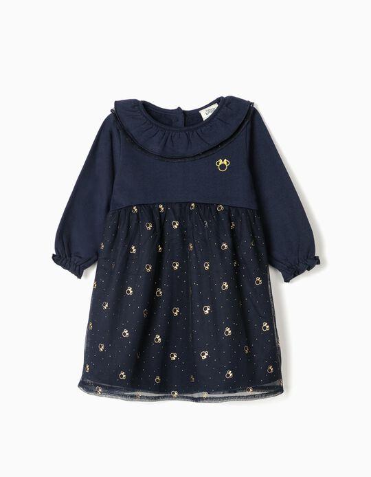 Vestido para Bebé Niña 'Minnie', Azul Oscuro/Dorado