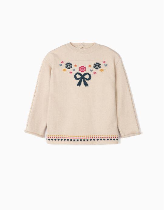 Camisola de Malha para Menina 'Bow', Bege
