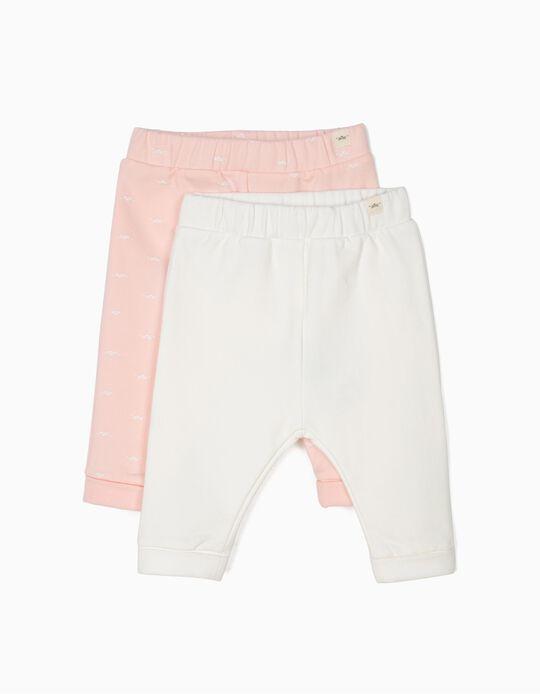 2 Pantalones para Recién Nacida 'Lion', Rosa y Blanco