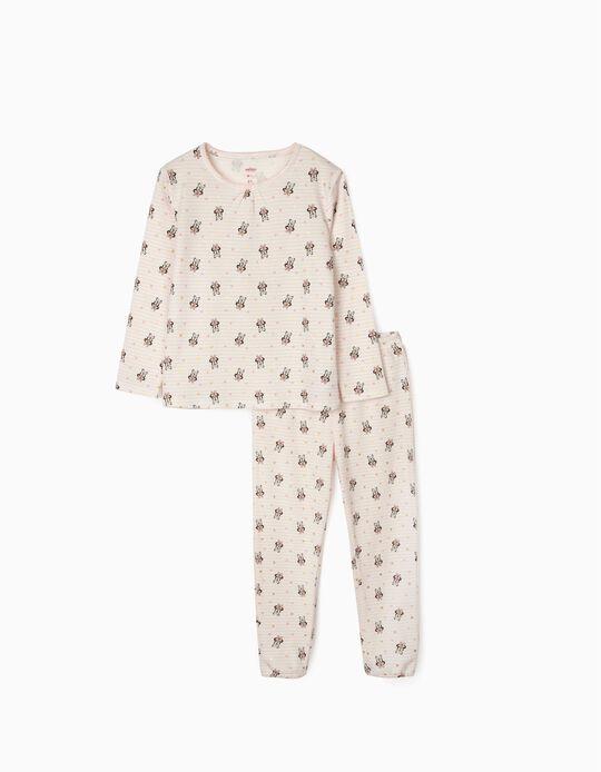 Striped Pyjamas for Girls, 'Minnie', Pink/White