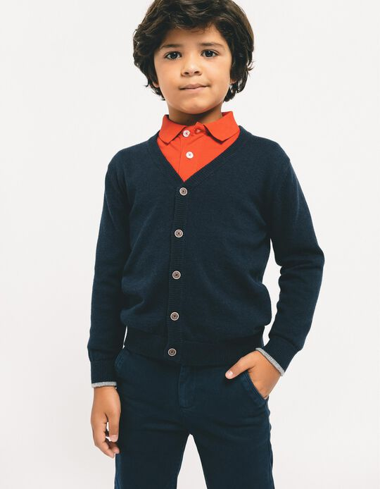 Calças de Sarja para Menino, Azul Escuro