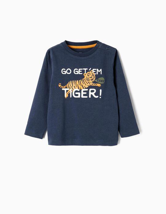 T-shirt Manga Comprida para Bebé Menino 'Tiger', Azul Escuro