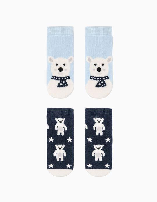 2 Paires Chaussettes Antidérapantes Bébé Garçon 'Bear', Bleu