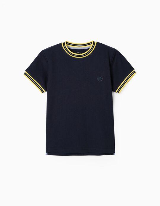 T-shirt Polo Piqué para Menino, Azul Escuro