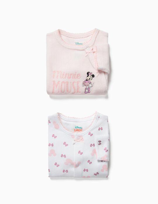 2 Babygrows para Recém-Nascida 'Minnie Ballerina', Branco e Rosa