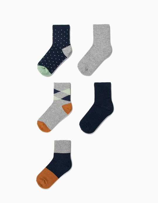 5 Pares de Meias para Menino 'Dots & Stripes', Multicolor