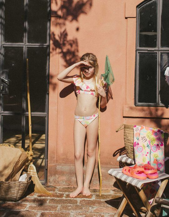 Bikini protection UV 60 fille 'Fruits', saumon