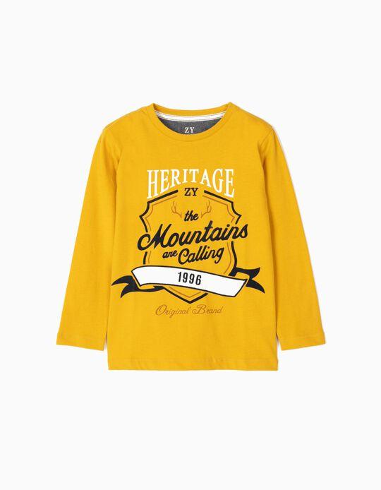 Camiseta de Manga Larga para Niño 'Heritage', Amarillo Oscuro