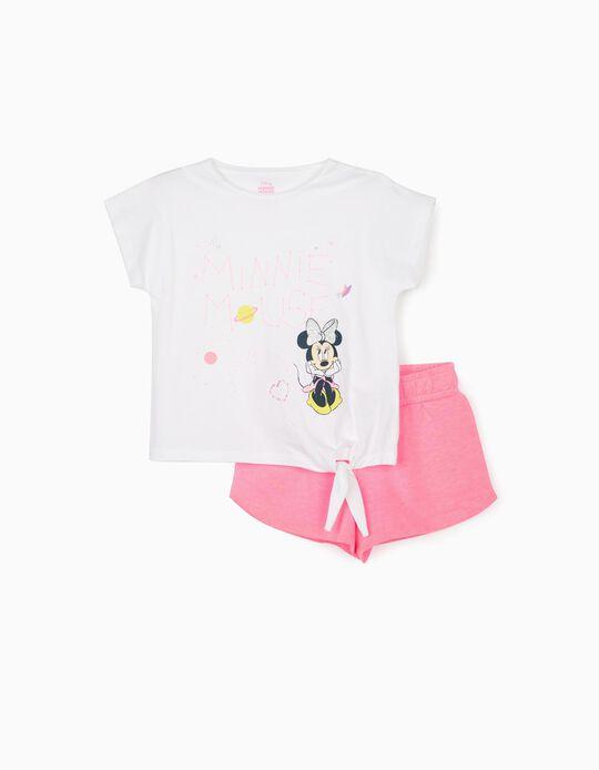 T-shirt et short fille 'Minnie Mouse', blanc/rose