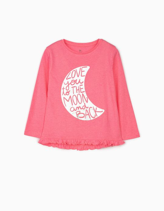 Long Sleeve Top for Girls 'Moon', Pink