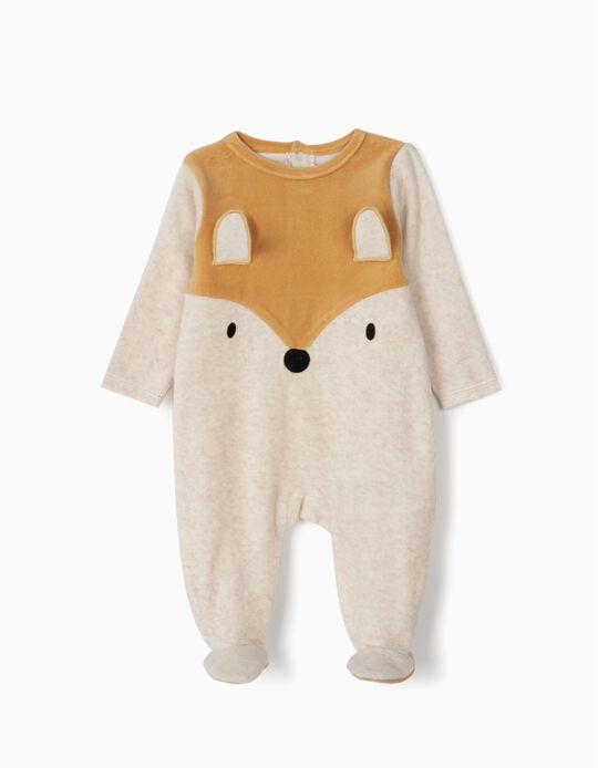 Pelele Aterciopelado para Bebé Niño 'Fox', Beige y Marrón
