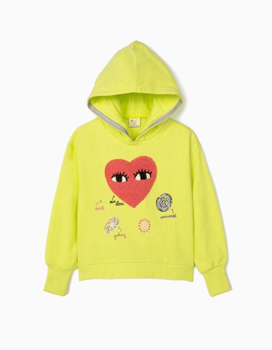 Sweatshirt com Capuz para Menina 'Our Love', Amarelo Lima