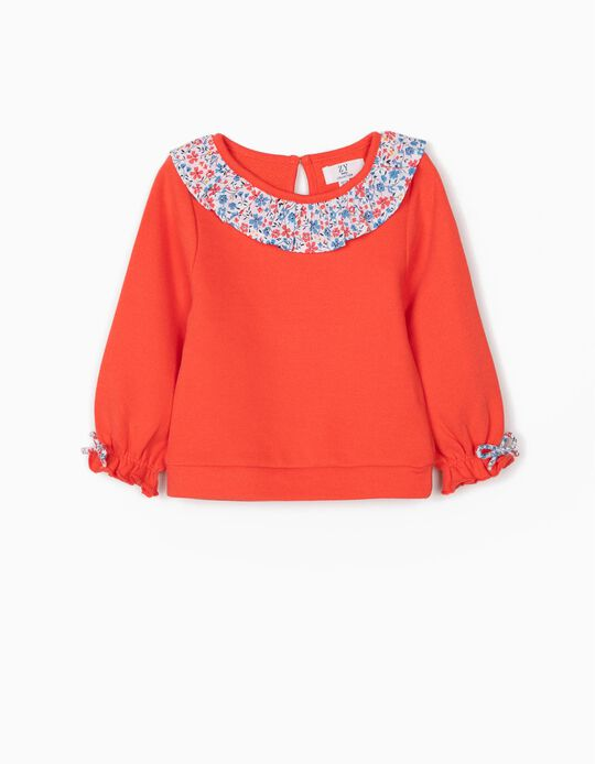 Sweatshirt with Floral Collar for Baby Girls, Coral