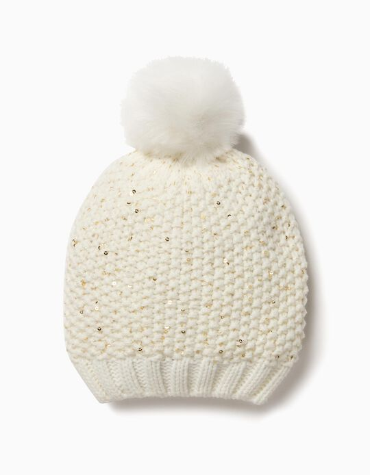 White Knitted Beanie with Sequins