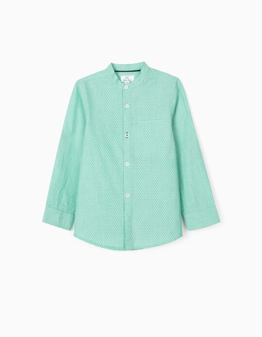 Camisa Gola Mao para Menino, Verde