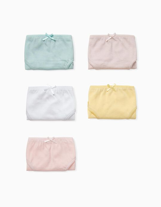 5 Pairs of Plain Briefs for Girls, Multicoloured