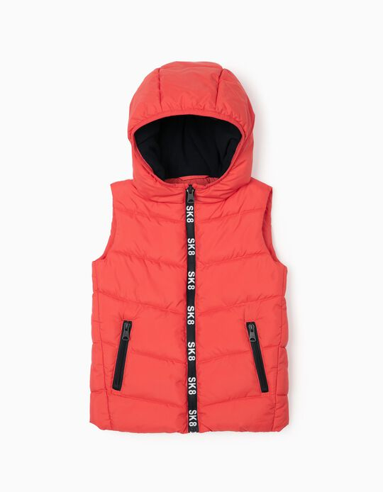 Padded Vest with Hood for Boys, Red