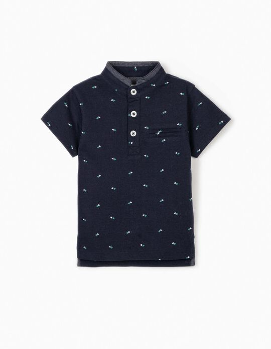 Polo Shirt with Mandarin Collar for Baby Boys, Dark Blue