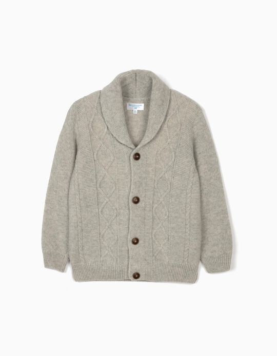 Woollen Cardigan for Boys, 'B&S', Grey