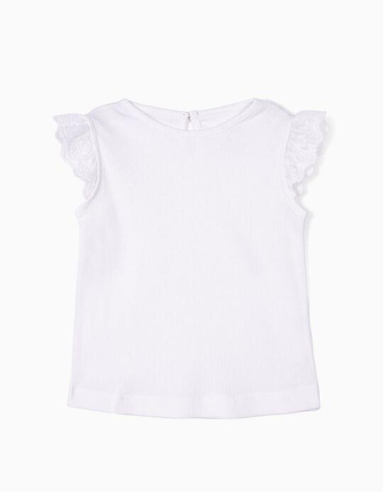 Top Canelado para Bebé Menina com Folhos, Branco