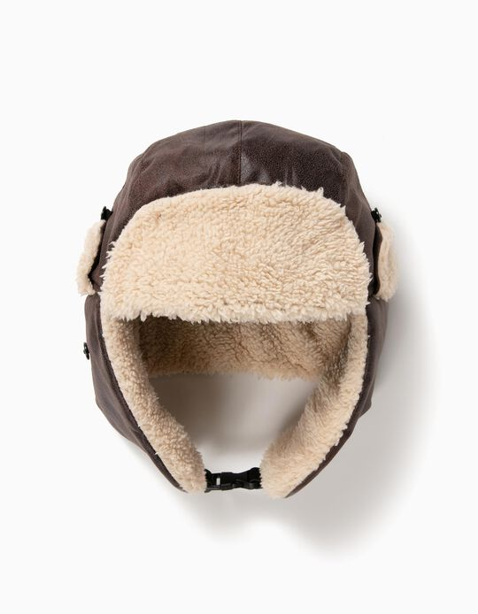 Brown Trapper Hat with Fur