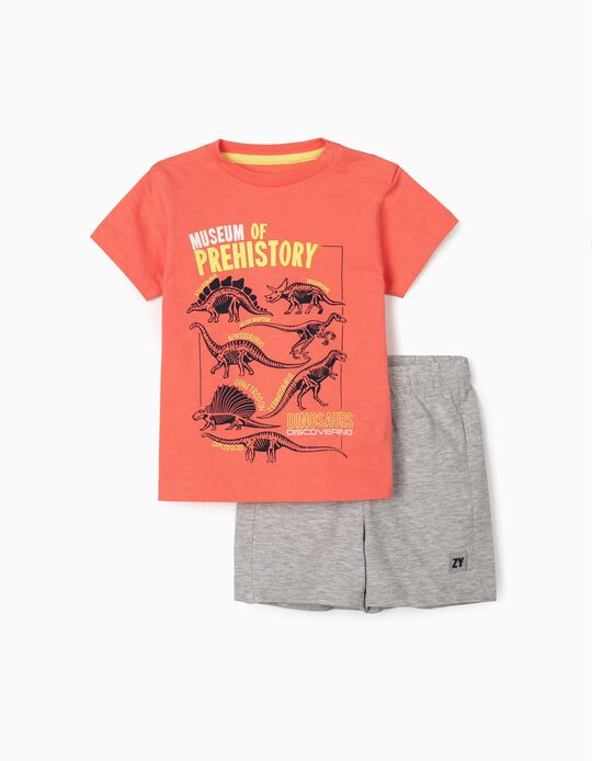 T-shirt & Shorts for Baby Boys, 'Museum Prehistory', Coral/Grey