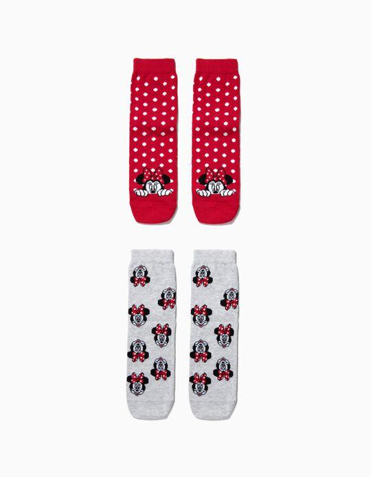 Pack 2 Calcetines Antideslizantes para Niña 'Minnie', Rojo y Gris