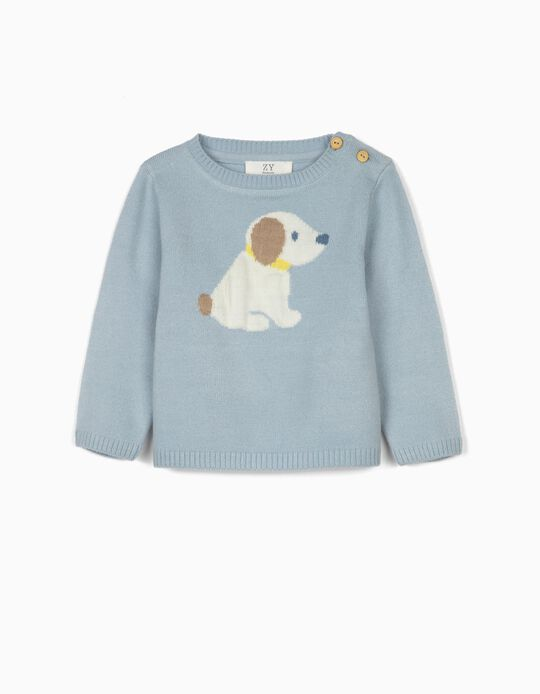 Jumper for Newborn Baby Boys, 'Cute puppy'', Blue