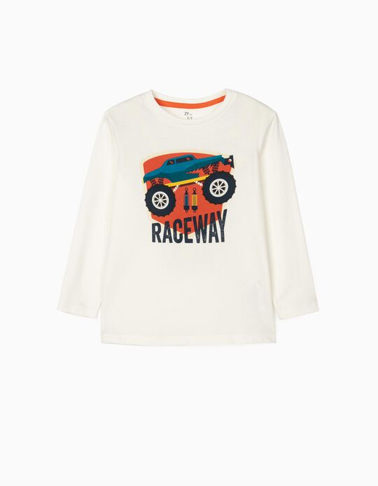 T-Shirts Manches Longues Garçon 'Raceway', Blanc