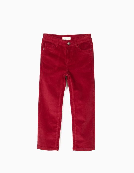 Calças de Bombazine Vermelho Escuro