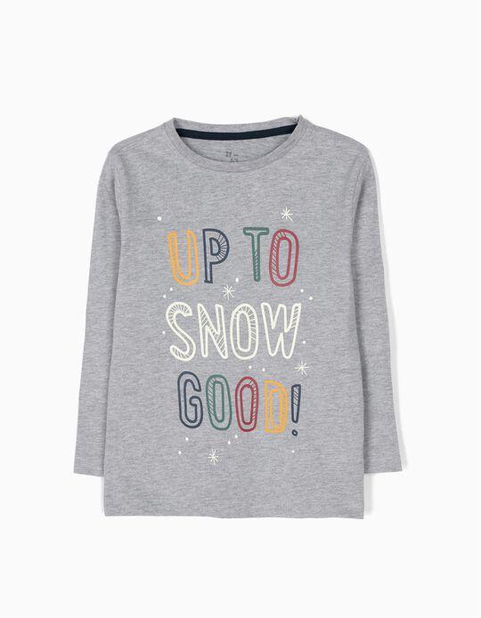 T-shirt Manga Comprida Snow Cinzenta