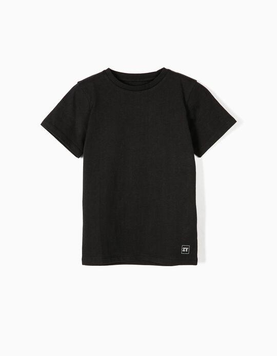 T-shirt Básica para Menino, Preto