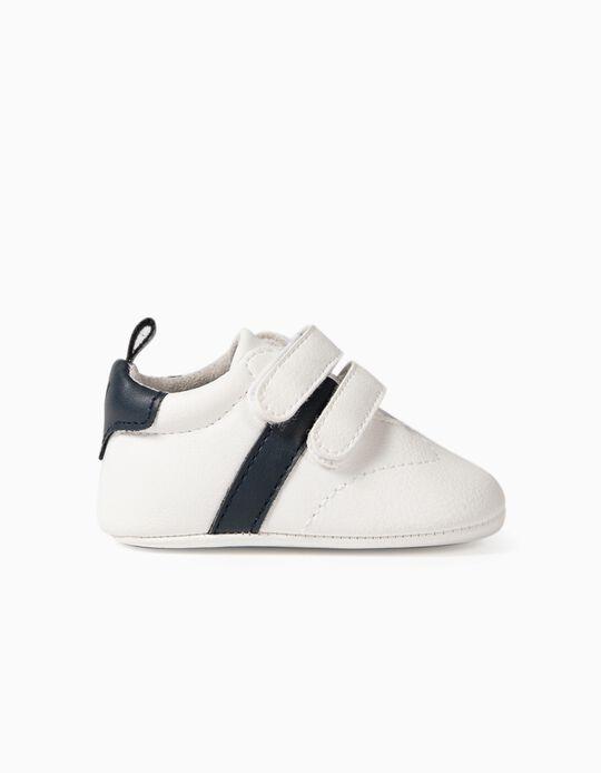 Zapatillas para Recién Nacido 'Rayas', Blanco/Azul Oscuro