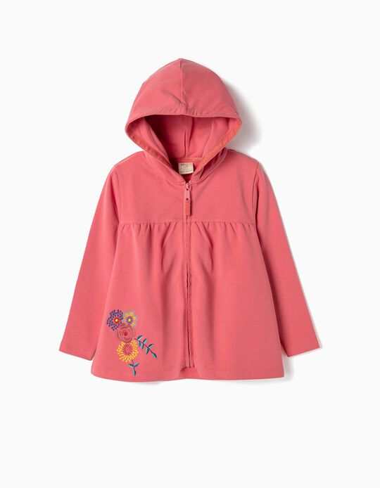 Hooded Jacket for Girls 'Flowers', Pink
