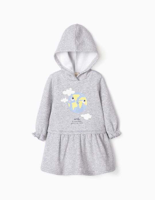Hooded Dress for Baby Girls 'Earth', Grey