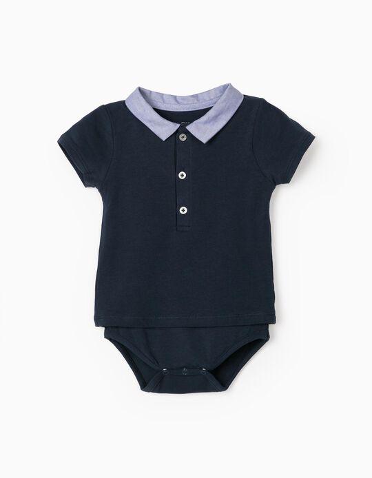 Polo Shirt Bodysuit for Newborn Baby Boys, Dark Blue