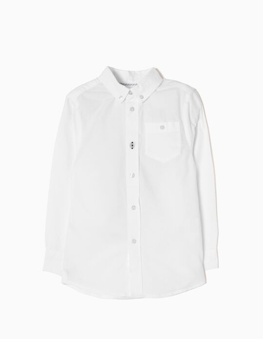 Camisa Manga Comprida para Menino, Branco