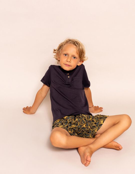 Printed Swim Shorts for Boys, Grey/Yellow