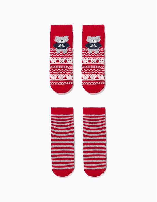 2 paires de chaussettes antidérapantes bébé 'Christmas Bear', rouge/gris