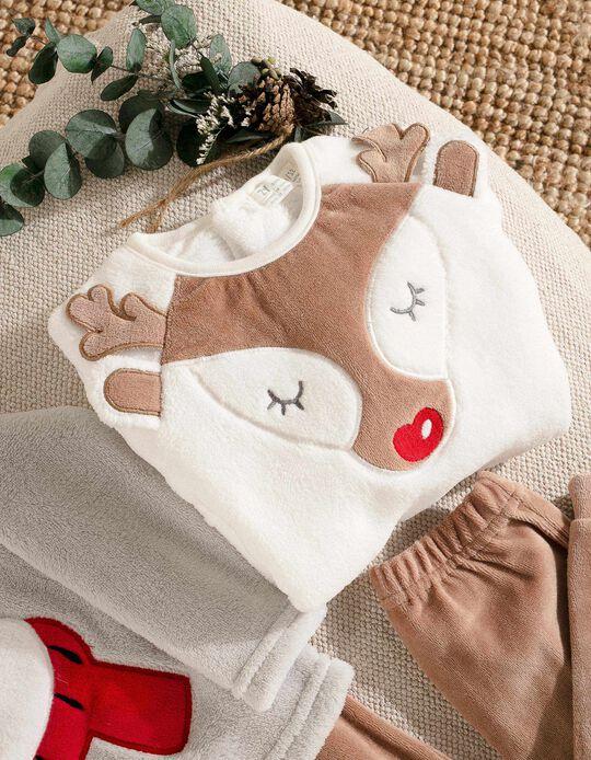 Pijama para Menina 'Christmas Bear', Branco/Castanho