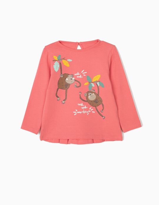 Camisetas de Manga Larga para Bebé Niña 'Monkeys', Rosa