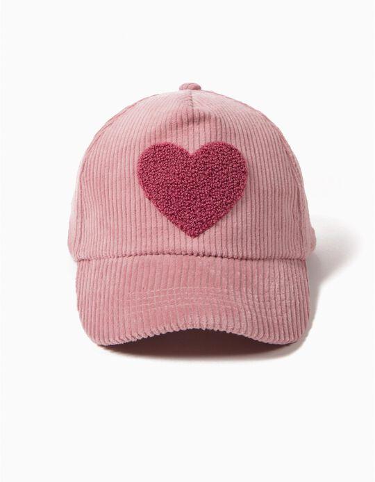 Gorra de Pana Rosa Corazón