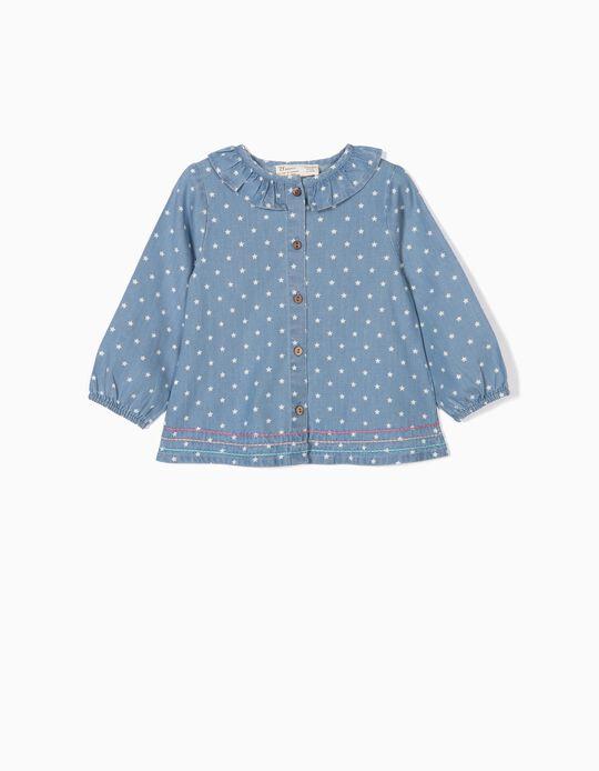 Blusa Denim para Bebé Menina 'Stars', Azul Claro