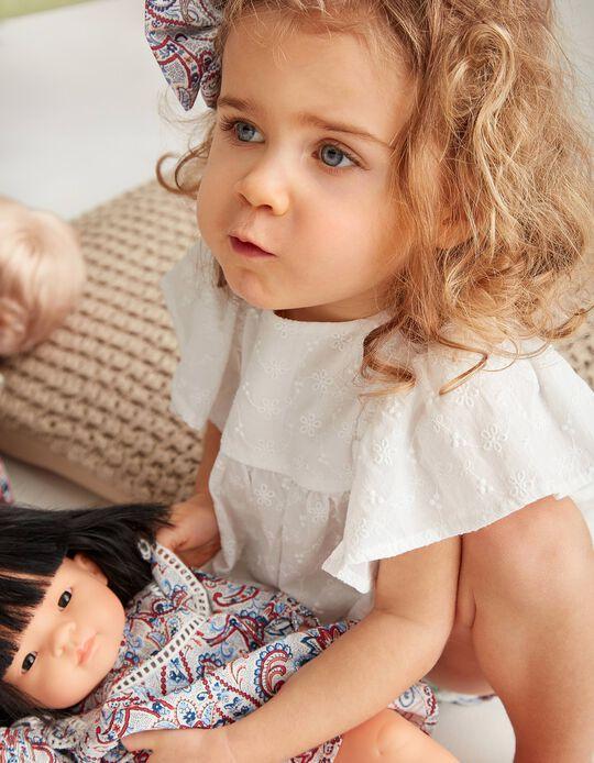 Blusa y Cubrepañal para Bebé Niña 'B&S' Paisley, Blanco