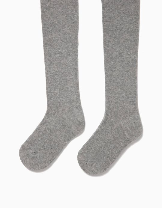 Knit Tights for Girls, Grey