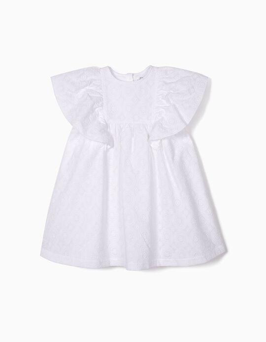 Vestido para Menina com Bordados,  Branco
