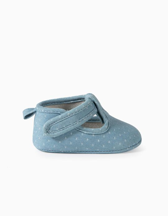 Zapatos Denim para Recién Nacida, Azul Claro