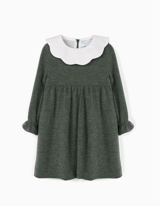 Knitted Dress for Baby Girls, 'B&S', Green