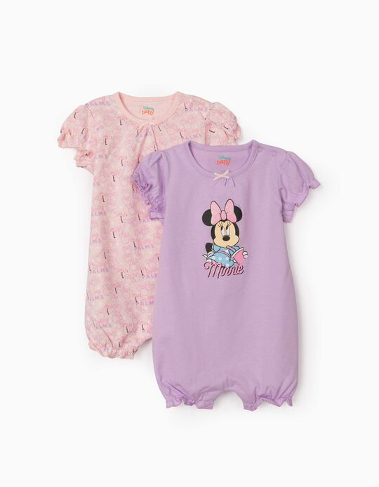 2 Short Sleeve Sleepsuits for Baby Girls, 'Minnie Mouse', Lilac/Pink