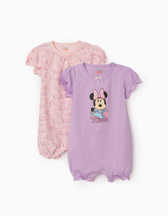 2 grenouillères manches courtes bébé fille 'Minnie', lilas/rose